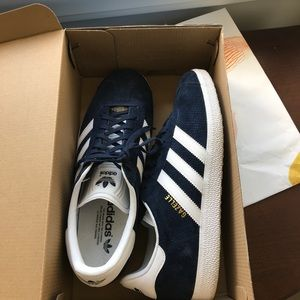 Adidas Gazelle Navy and White Suede Sneakers